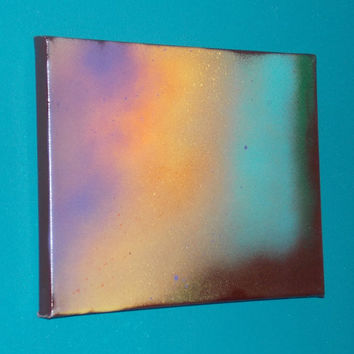 Leumrian Seed Crystal #2 Energy Art Abstract Spray Paint 9x12 Healing Energy Spiritual Painting Stretched Canvas