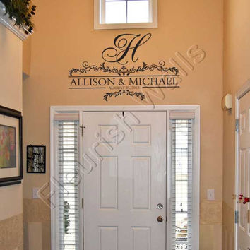 Monogram Wall Decal Personalized with Names and Established Date for Wedding Sign Foyer Entryway Living Room Bedroom or Family Room FN014
