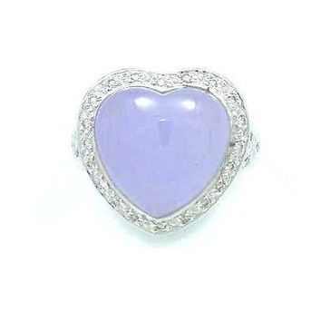 GENIUNE HEART SHAPE LAVENDAR JADE & DIAMOND RING 18K WG