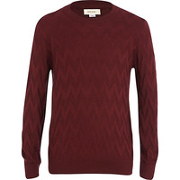 River Island Boys dark red zig zag sweater