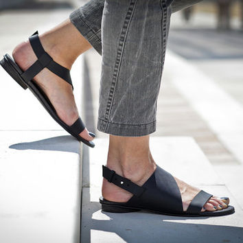 10% Sale, Francis, Black Leather Sandals, Flat Summer Shoes, Black Sandals, Asymmetric Shoes
