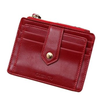 Hot Sale New Fashion Simple Mini Leather Zipper Credit Card ID Holder Clip Wallet Clutch Bag Solid Color Coin Purses Gift