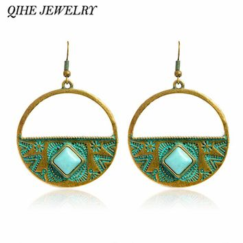QIHE JEWELRY Rustic Blue Stone Big Circle Dangling Chandelier Earrings Bohemian Jewelry Ethnic Jewelry Women Gift for her Boho