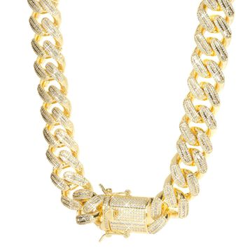 18mm Iced Cuban Link Chain In Gold