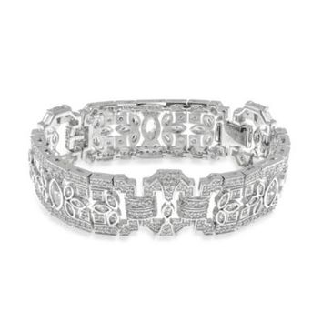 CZ Kenneth Jay Lane Cubic Zirconia Deco Foliate Bracelet