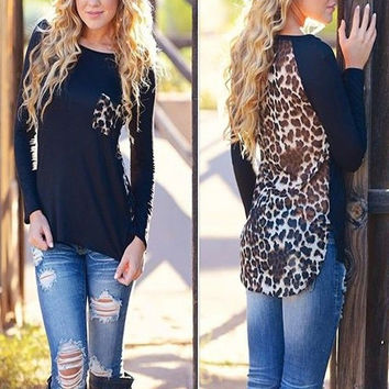 Black Leopard Print Long Sleeve Loose Top
