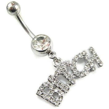 the 'bitch' body jewelry Belly button Ring clear white rhinestone silver piercing Accessary 316Lmedical stainless steel navel ring/nail