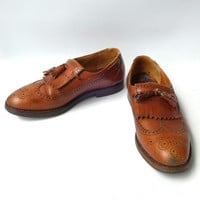 Vintage quality UK Churchs bespoke tan oxford brogue shoes sz 42