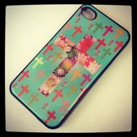 Black case Tiffany Teal FLORAL Multi Cross Iphone case cover skin for Iphone 4 and 4s