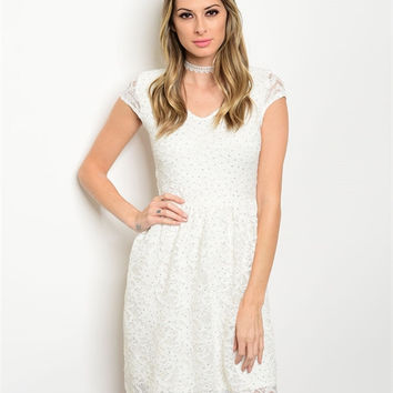 * IVORY WITH SILVER SHIMMER LACE DRESS