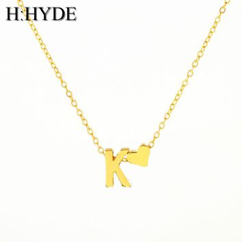 H:HYDE Fashion Personalized love heart Letter Alphabet Pendant Necklace Initial Necklaces Charms For Women Mini Jewelry Chain