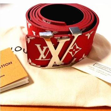 LV Supreme Woman Fashion Smooth Buckle Belt Leather Belt