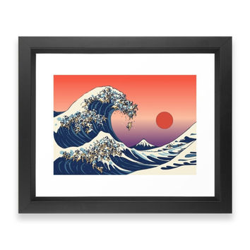 Society6 The Great Wave Of Pug Framed Print