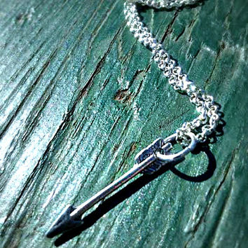 Silver Arrow Necklace,Pendant,Archer Archery Jewelry,Boho Chic Necklace,Tribal Arrow,Cosplay,Tiny Arrow Charm,Ready to Ship, Direct Checkout