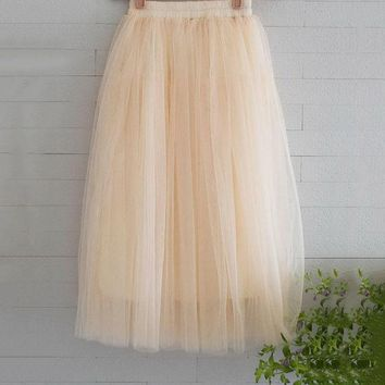 DCCKDZ2 New Arrivals Tulle Skirts Womens 2016 Summer Fashion High Waist Long Skirt Elastic Waist Sun Fluffy Tutu Skirt Jupe Longue Femme
