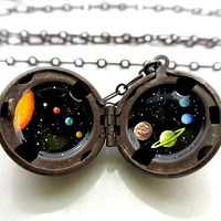Reserved for Rachel - Solar System Locket, Hand-painted in Oil