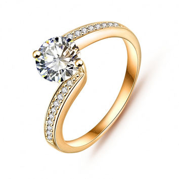 LZEHSINE Simple Style Engagement Rings Silver Plated/Gold Plated AAA Zirconia Micro Inlayed  Friendship Party Rings CRI0023