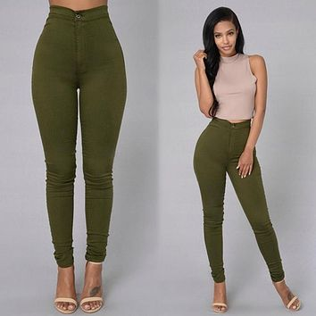 2016 autumn and winter womens ripped skinny jeans high waist jeans female pencil pants tight moms jeans for women