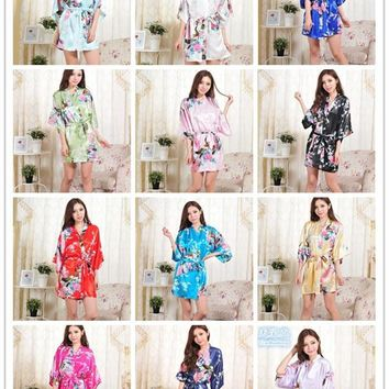 Floral Silk Kimono Robe Wedding Bridal Party Gifts 14 Colors S-XXL