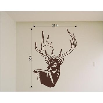 Deer Head Mount Wall Decals Mural Home Decor Vinyl Stickers Decorate Your Bedroom Man Cave