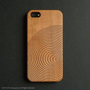 Real wood engraved circle lines pattern iPhone case S006