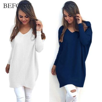 BEFORW V Neck Women Sweaters Fashion Autumn Winte Sweater 2017 Hot Women Hedging Loose Pullover Casual Solid Color Sweate