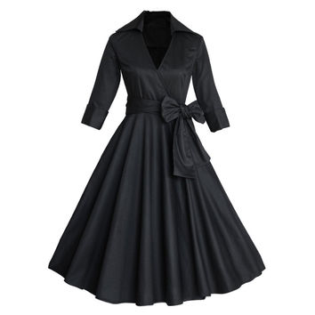 1950s 60s Retro Vintage Dress Swing Rockabilly Evening Party Ball Gown Empire Knee Length 3/4 Sleeve Lapel Slim Ladies Warm