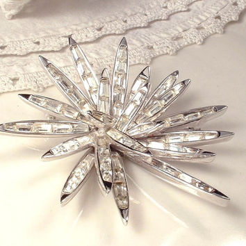 Vintage Marcel Boucher Rhinestone Snowflake Brooch, 1960s RARE Starburst Signed 8073P, Bridal Sash Pin or OOAK Hair Comb, Winter Wedding