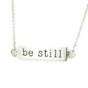 """""""Be Still"""" Essential Oil Diffuser Stainless Steel Bar Necklace- 22-24"""""""