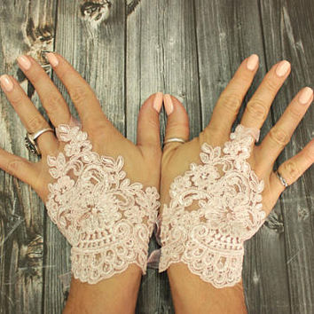 Pink bridal wedding gloves, french lace short bridal gloves, powder pink fingerless gloves, flower girl gift, bridal cuff