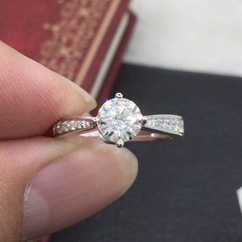 Custom made 1ct Brilliant Moissanite Engagement ring White gold,Diamond wedding band,14k,Round Cut,Gemstone Promise Ring,Solitaire,4-Prongs