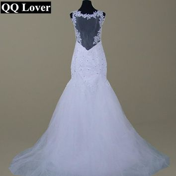 QQ Lover Detachable Train Illusion Mermaid Wedding Dress Sexy Backless Tulle  Wedding Gowns 2018 Vestido De Noiva