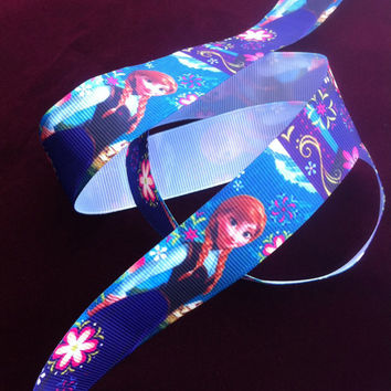 "Disney Frozen Anna Printed Grosgrain Ribbon/1""(25 mm) width /DIY Hair Bow / Head band / Craft Supplies"