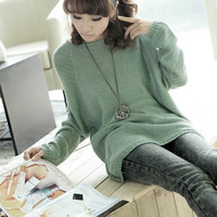 Elegant Batwing Sleeve Knitted Pullover(One Size) = 1919915332