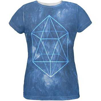 Sacred Geometry Icosahedron Crystal Wind All Over Womens T Shirt