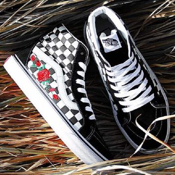 Vans Old Skool Casual Fashion Embroidery Flower Canvas Shoes Sport Flats Shoes