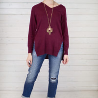 Side Slit V-Neck Sweater Top