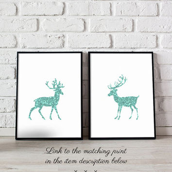 Mint green art printable, Mint nursery decor, Woodland animal prints, Green home decor, Mint home art, Deer home decor, Deer decorations