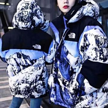 The North Face X Supreme snow mountain couple's down jacket outdoor windproof warm casual coat