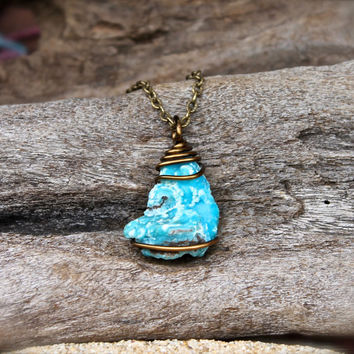 Raw Hemimorphite Necklace - Rough Stone Necklace - Hemimorphite Jewelry - Blue Stone Jewelry - Gypsy Bohemian Jewelry - Hippie Necklace