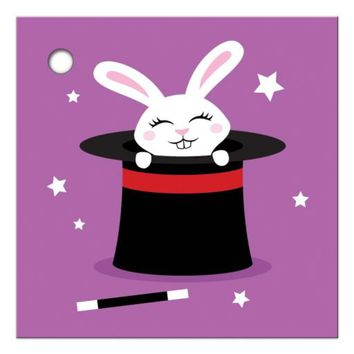 Cute white rabbit in magicians hat magic show gift tag
