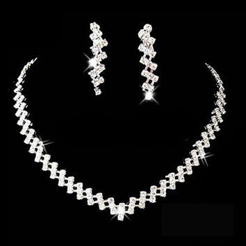 Bridal Wedding Prom Jewelry Crystal Rhinestone Diamante Necklace & Earring Set = 1931957572