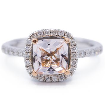 7mm Cushion Cut Morganite Center 14k Two-Tone Solid White Gold and Rose Gold Etched Detail Diamond Halo & Shoulders 1.75 Carat Total Weight