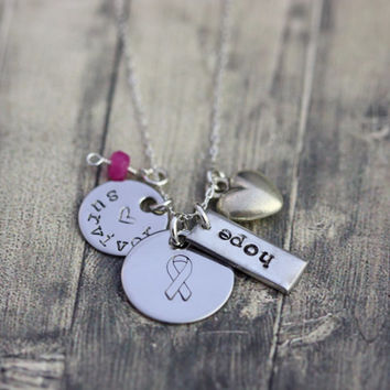 Survivor necklace, hope, inspiration, cancer, breast cancer, strength, fighting cancer necklace