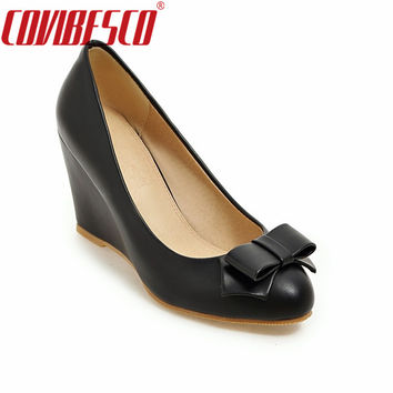 COVIBESCO New Fashion Women Shoes Wedges Heel Pumps Women Cute Bowknot Shoes High Heels Women Wedding Shoes Nude Color Plus Size
