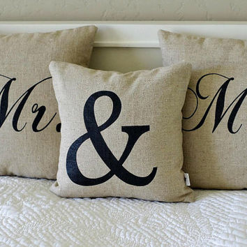 Mr. or Mrs. Pillow Cover, each available in Black or White Writing on Natural Linen, 16x16