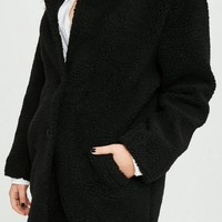 Missguided - Curve Black Teddy Shearling Wool Coat