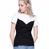 Contrast Color Short Sleeve T-shirt