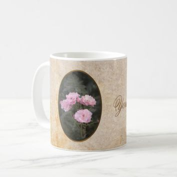 Vintage design. Photo of pink roses. Add your text Coffee Mug