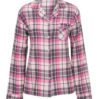 Plaid Print Flannel Shirt - Pink Combo